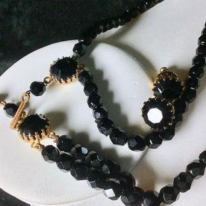 🎁VINTAGE Black Crystal Necklace & Earrings